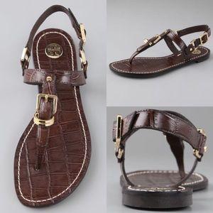 Tory Burch Trent Croc Print Leather Thong Sandals